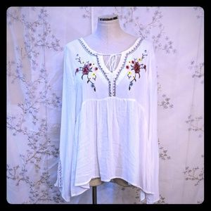 Rose & Grace white peasant top long sleeve XL